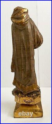 Hand Carved Wood Santos Religious Man Signed Cervantes