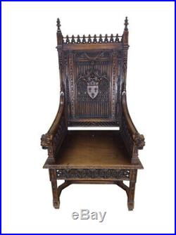 Handsome Antique French Gothic Throne Arm Chair, 19th Century, Oak, Religious
