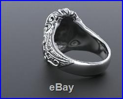 Heavy Antique SEEING EYES Mens & Lades Engagement Ring 925 Sterling Silver