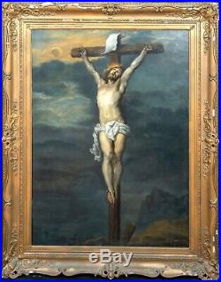 Huge 17th Century French Old Master The Crucifixion Antique Oil Painting