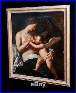 Huge 17th Century Italian Old Master Venus Nursing Cupid Antique Oil Painting