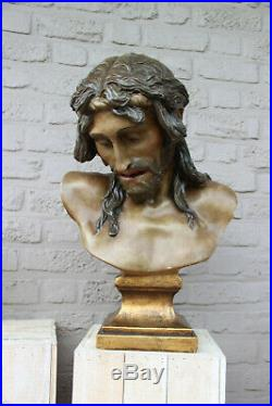 Huge Antique French Rare Religious chalkware bust christ statue church altar