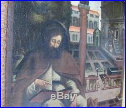 Huge Museum-Quality 17th C. Oil Painting of Christian Saint antique