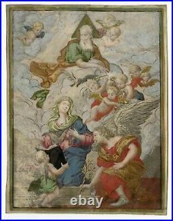 Illuminated Religious Painting on Vellum 17th cent. ANNUNICIATION RARE GENIUNE