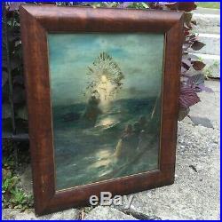 Ivan Aivazovsky ChristJesus Walking on Water Antique Picture Wooden Frame Glass