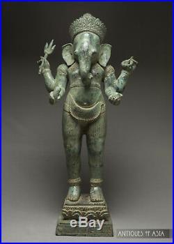 Khmer Antique Style Bronze Ganesha 19th Century Cambodian 58cm/23