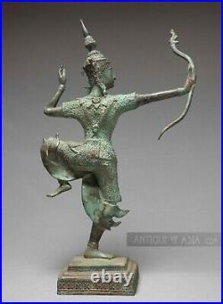 Khmer Bronze Antique Thai Style Lord Rama Firing Bow, Cambodian 37.5 cm / 15 h