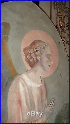 LIFE SIZE FRENCH ANTIQUE OIL on CANVAS PAINTING ANGEL MUST SEE LIFE-LIKE