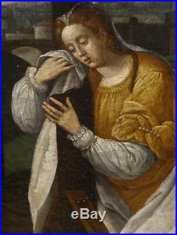 Large 16th Century Netherlandish Renaissance Crucifixion Christ Antique Painting