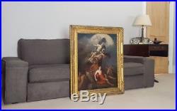 Large 17th Century French Goddess & Endymion Mythology Antique Oil Painting