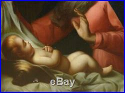 Large 17th Century Italian Old Master Virgin & Baby Madonna Antique Oil Painting
