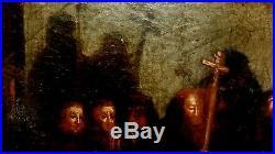 Large 18th Cent OLD MASTER ANTIQUE ORIGINAL Oil on Burlap RELIGIOUS SCENE FRAMED