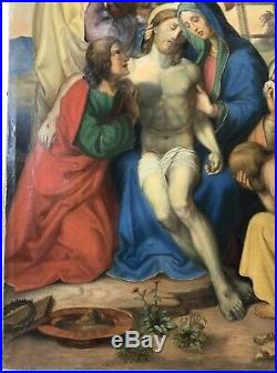 Large 19th Century Antique Oil Painting On Canvas Religious Jesus Christ Cross