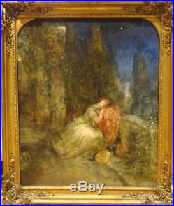 Large 19th Century Classical Lady Twilight Garden Stars Antique Oil Painting