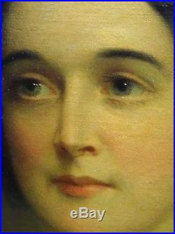 Large 19th Century English Lady Portrait Mrs Mary Sargent Antique Oil Painting