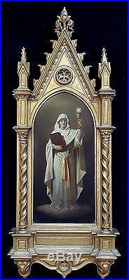 Large 19th Century Renaissance St Barbara Signed Portrait Antique Oil Painting