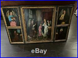Large Antique 15th Century Triptych Painting Hans Memling Saint Angel Religious