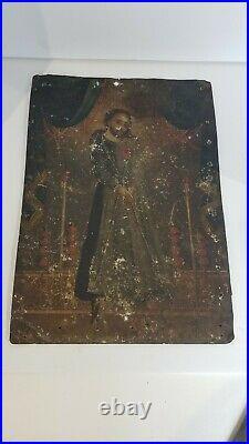 Large Antique 19th Century Spanish Colonial Retablo Painting On Tin