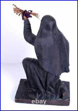 Large Antique Polychrome Religious Santos Nun Statue Figure