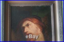 Large Antique Portrait Jesus Christ Crucifixion Religious Art Painting Unsigned