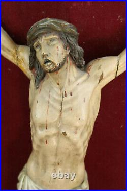 Large Antique religious wood carved polychromie Christ jesus on panel french