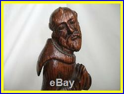 Large Carved Pitch Pine Religious Monk Figure 17th/18th Century, Wonderful Patina