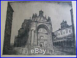 Large Etching Antique Vintage Church Icon Religious Street Scene Mystery Artist