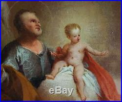 Large Fine 18th Century The Apotheosis of St Joseph Angels Antique Oil Painting