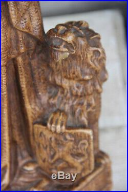 Large antique Chalkware Religious Madonna statue figurine flanders lion symbol