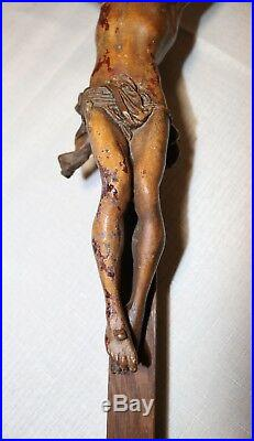 Large antique wood religious Catholic crucifix polychromed Jesus crucified cross