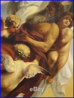Large19th Century Classical St Micheal Defeating Satan Devil Antique Painting
