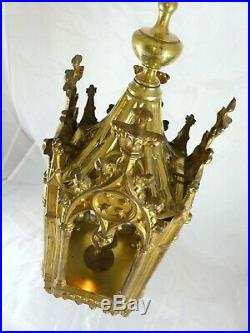 Late 19th Antique Gilded Brass French Chandelier Lantern Pendant Religious