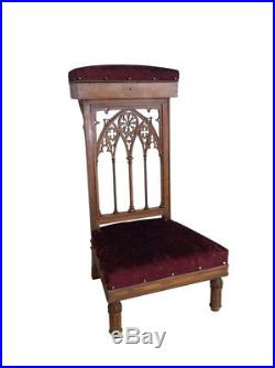 Lovely Simple French Gothic Church Prayer Chair Kneeler, Religious