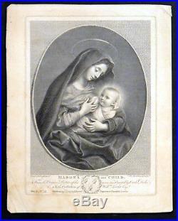 MADONA AND CHILD 1769 Francesco Bartolozzi Carlo Dolci ANTIQUE ETCHING