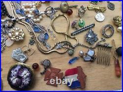 MIX LOT Vintage Victorian Art Deco Nouveau Antique Jewelry & religious items
