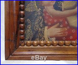Madonna & Child Peruvian Cusco Folk Art Painting in Wooden Carved Antique Frame