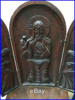 Mid Century Modern Lg Carved Wood Religious Triptych 15 1/2 x 15 1/4