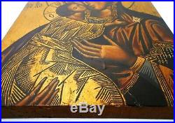 Mid-late 19th C Antique Russian Icon Oil On Wood Panel Mother Of Perpetual Help