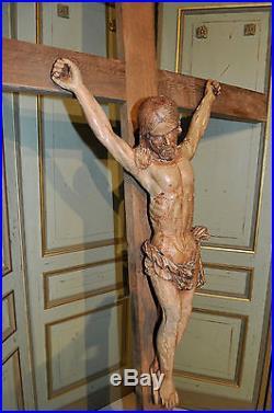 Monumental Religious Crucifix w Christ French Gothic Church Shrine 17th Century