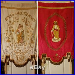 NICE ANTIQUE FRENCH BANNER RELIGIOUS. 19 Th CENTURY. SILK. 142 X 89 CM