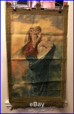 Nice Antique Church Catholic Banner Mary Jesus Cording Tassels Fringe Trim Rare