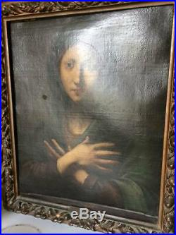 Oil Painting, Framed Italian Baroque Madonna, 17th C (1600s), Beautiful Antique