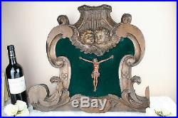 Old 1800 Religious Wood carved altar piece putti cherubs crucifix christ French