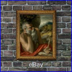 Old Master Antique Portrait Saint Jerome Oil Painting Italian Art Unframed 30x40