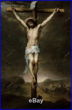 Old Master Art Antique Christ Portrait Jesus on The Cross Oil Painting 24x36