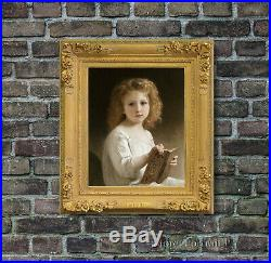 Old Master Art Antique Portrait Girl The Story Book Oil Painting Unframed 24x30