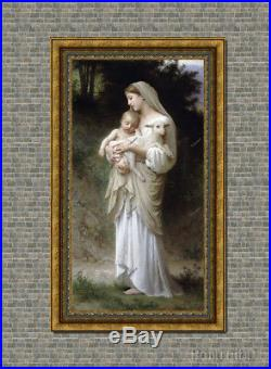 Old Master Art Antique Portrait Virgin Mary Madonna Child Oil Painting 30x60