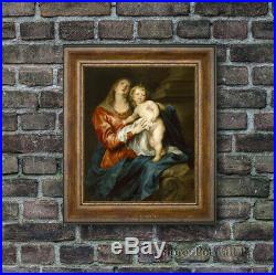Old Master Oil Painting Art Antique Portrait Madonna and Child Unframed 30x40
