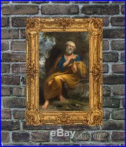 Old Master Oil Painting Art Antique Portrait Penitent Saint Peter Unframed 24x40