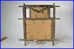Old folk art tramp frame with two panels and religious art collage. 14 x 13